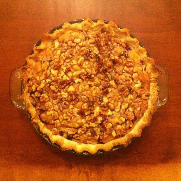 blueberry yogurt pie with a walnut crumble crust