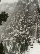 Rock Climbing Photo: Conditions last Sunday. Nice white line top to bot...