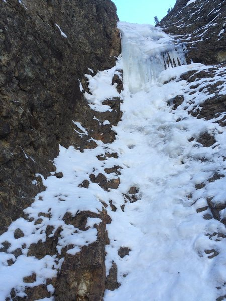 Rock Climbing Photo: The ice finish after the psycho crux was in great ...
