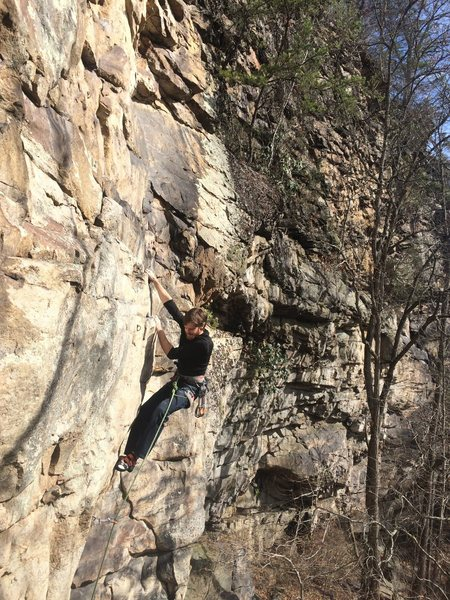 Rock Climbing Photo: Justin midway up on Rebel Yell