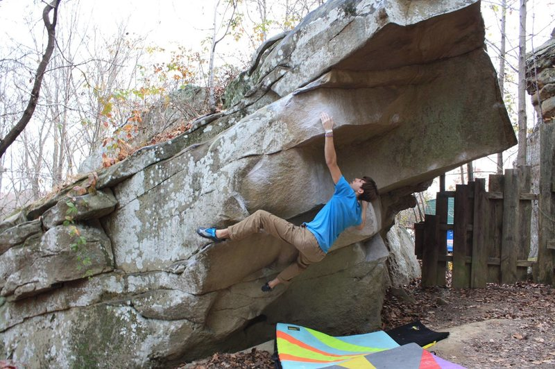 Taylor Eshmont preparing to throw on Tennessee Thong, V7. Stone Fort.