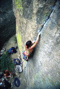 Rock Climbing Photo: Deb Slevin on the 5.11+ finger crack.