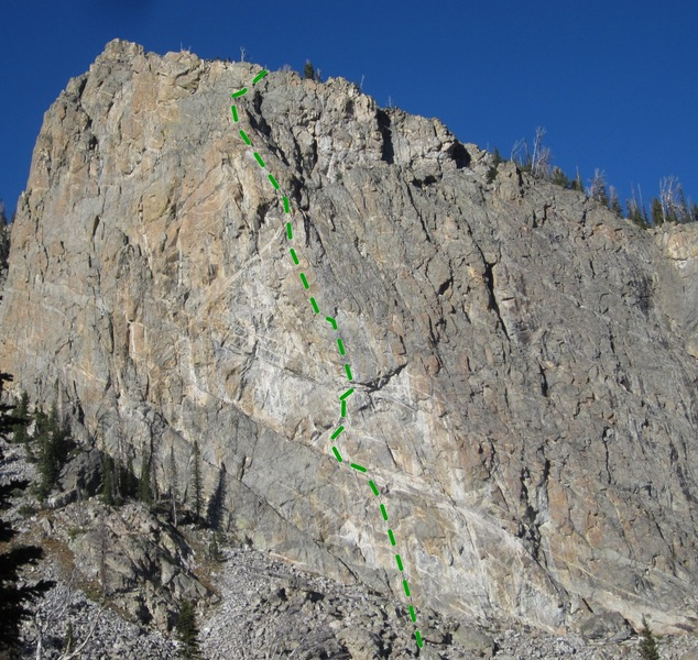 Old Mountaineer's Root@SEMICOLON@ II 5.11b/c tradp1: Monkey Buckets@SEMICOLON@ 5.10d sport, then step left to belay ledge w/ bolts. ** <br> p2: bolts, face, left facing corner, bolts, fragile, 1 set, long draws, sling, belay ledge w/bolts, .11a <br> p3: Red Crack, sling block, thin crack, crimps, small cams, hand crack, all trad, 2 sets. .10b*** <br> p4@SEMICOLON@ steep crack thru bulge@SEMICOLON@ bolts and cams@SEMICOLON@ belay bolts, mixed 1.5 sets fingers.11b/c <br> p5: easier face to trad bulge, belay at Grand Central
