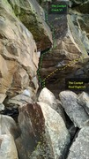 Rock Climbing Photo: The Cockpit Crack, V1, top portion of route, and T...