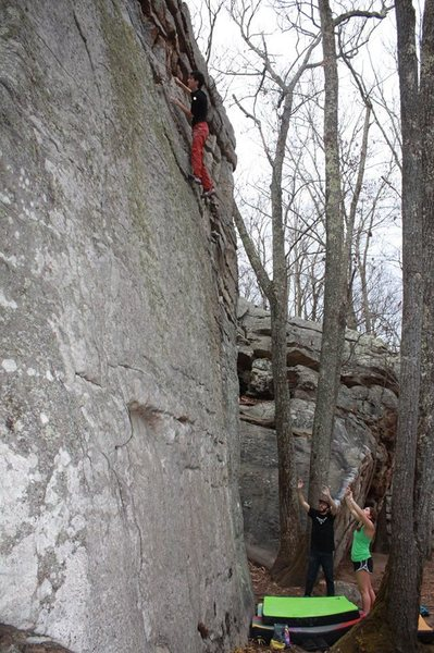 "Oliver Richman high up on ""Block and Tackle"", V2. Stone Fort."