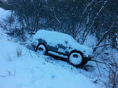 Rock Climbing Photo: SUV that slid off the road about one mile from the...
