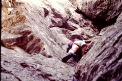 Rock Climbing Photo: Leading Head Jam at Moore's Wall, NC 1984