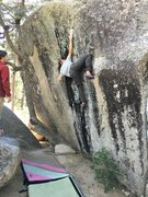 Rock Climbing Photo: Reaching high and locking off low to gain the firs...