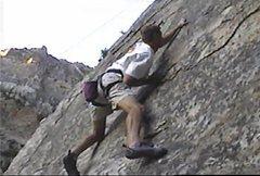 Rock Climbing Photo: Crux of Meadow Muffin near bolt 3-4.