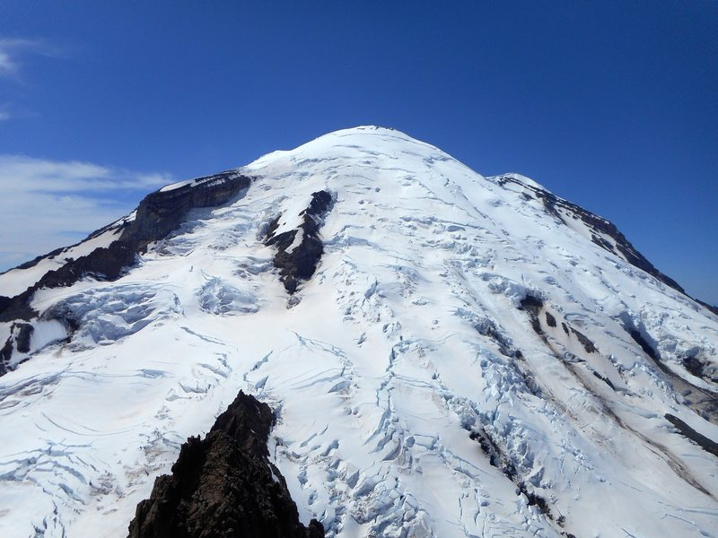 Left to right. Gibraltar Rock, Ingraham Glacier, Disappointment Cleaver, and Emmons Glacier. Photo taken from summit of Little Tahoma.