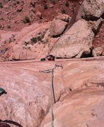Rock Climbing Photo: Just below the short aid section.
