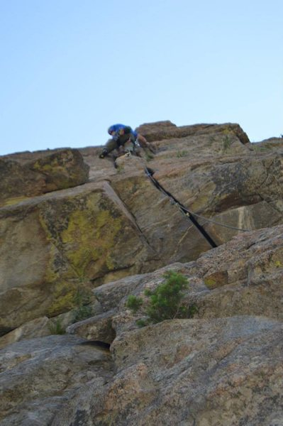 Up above the crux on Jam It.