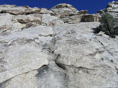 Rock Climbing Photo: Looking up at P1 & 2 of Geckoplex. The route ends ...