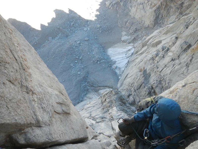 Rock Climbing Photo: Belaying above the void on Keeler Needle