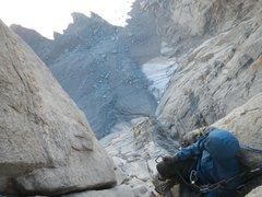 Rock Climbing Photo: Belaying above the void on Keeler Needle