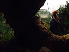 Rock Climbing Photo: Pete on belay.  Canyon in the background!