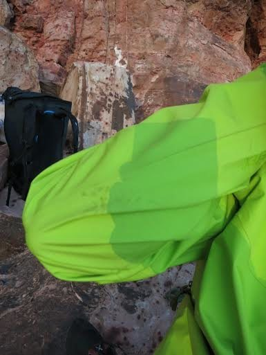 The jacket got a little itty bitty couple of holes in it when it caught under my rope climbing the route in one of my other pictures.
