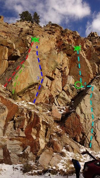 Supercollider Area<br> <br> 1) Winter's Edge, 5.10-, **.<br> 2) Top Rope Variation, 5.12, **.<br> 3) Obtuse Dilemma, 5.11c/d, ***.<br> 4) Black Serpent, 5.11c, **.