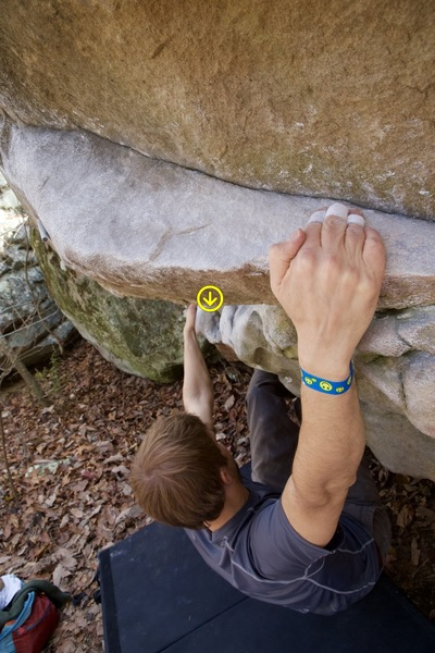 2015 Triple Crown boulderer- you can see the area where a heel hook in the lower holds could help climbers that are shorter/needing a more comfortable beta for the lower moves