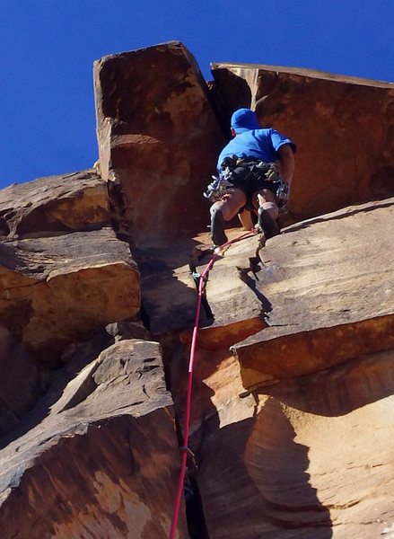 Rock Climbing Photo: Up toward the wide roof of Xyphoid Fever.  Photo b...