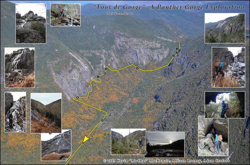 """Tour de Gorge-2015 November 21 Exploration below some of the """"lesser"""" cliffs."""