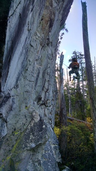 """Kai taking the whip from the lower crux on """"M.I.A."""""""