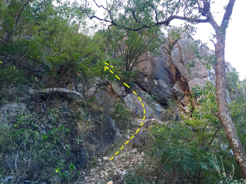 This is the path to get to the climb - those are the 20/30ft pilars you will stay to the left of them and climb up some rocks to base of climb.
