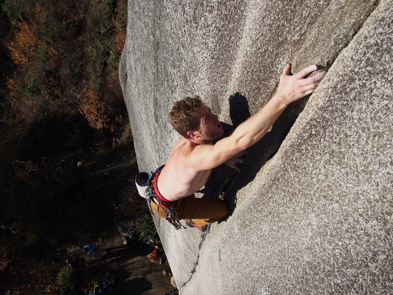 """Rock Climbing Photo: Mark R at the upper """"crack switch"""" crux"""