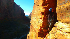 Rock Climbing Photo: Contemplating an exposed and unprotectable chimney...