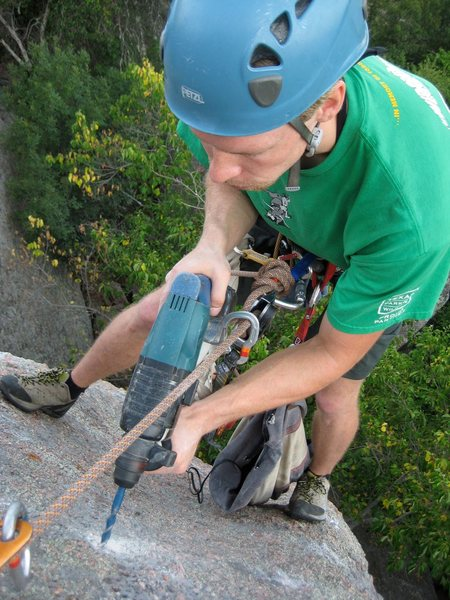 "Placing anchors on my route called ""Tuolumne Dreams"""