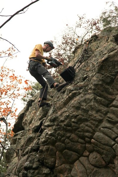 Installing routes at a crag of nice sandstone.