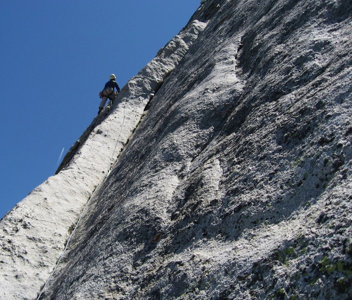 Dihedral pitch above Crescent ledge on regular route Fairview Dome, photo by Tom Rogers