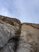 Rock Climbing Photo: Royal leading P3 from cool alcove. Bail anchor/in ...