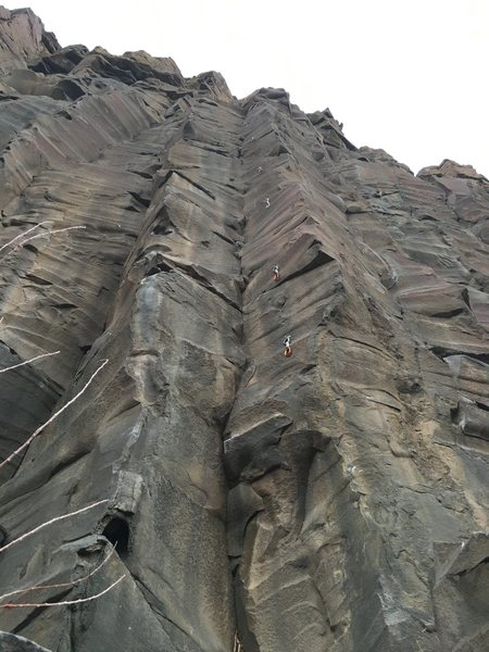Rock Climbing Photo: Draws hanging on the route