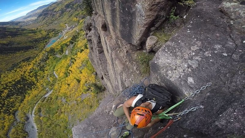 View from the belay station at the top of P3 (also top of P3 for Ame's Way). Fall colors were in full swing!