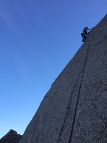 Rock Climbing Photo: Brock topping out on TR.  You can see a draw on th...