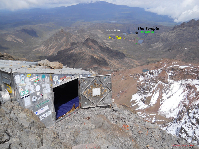 Howell Hut atop Point Nelion, Mt Kenya.<br> <br> In decades past, climbers camping near Hall Tarns would emerge from their tents in the morning to find themselves surrounded by elephants.<br> <br> Same camp would make the Temple an amazing top down opportunity. Unfreeclimbed?