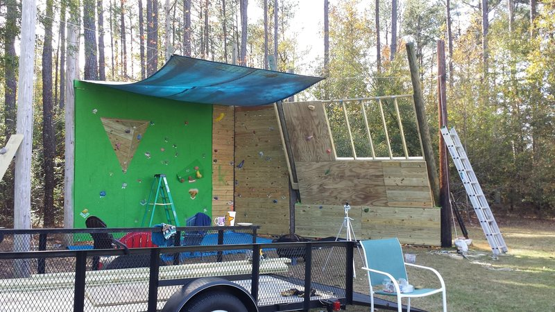 Rock Climbing Photo: Put up first sheet of plywood on top section. Then...