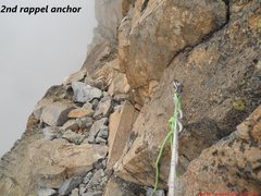 Rock Climbing Photo: A very exposed single bolt rappel - the first of s...