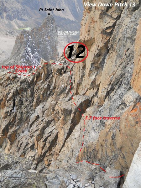 Point Nelion, Southeast Face<br> <br> Zoom in to see Pt St John.  Ian Allen's book say's the steepest route is A4 (his!).  Of St John's three other aid walls, the original, Rusty Baillie's, is described as ten pitches of A1 and A2 straight to the summit! &quot;...no real stances.&quot; <br> <br>