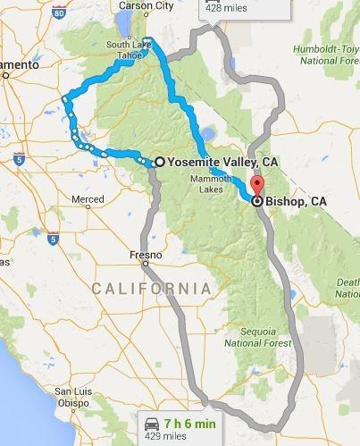 Winter routes Yosemite Valley - Bishop