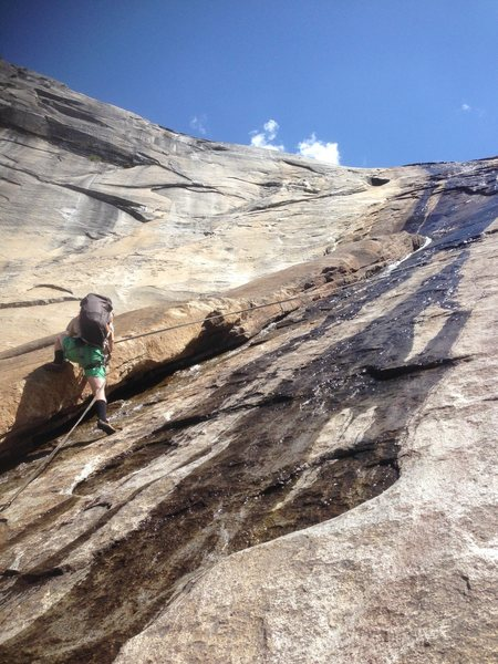 Rock Climbing Photo: Crossing the river via abseil
