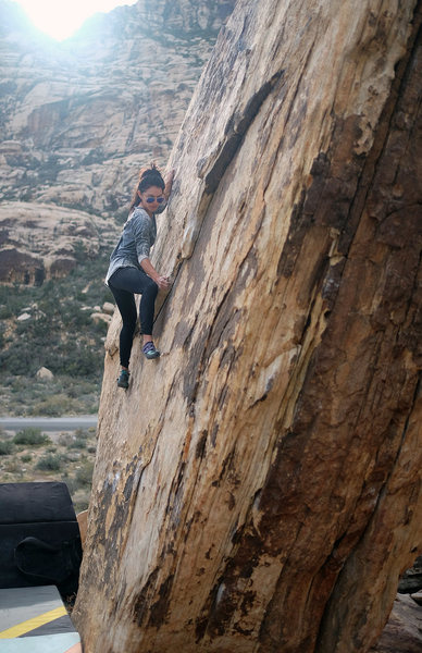 "Rock Climbing Photo: Erika on ""Peruvian Left"" V3 at Willow Sp..."