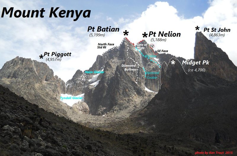 Mt Kenya, South Side<br> from near the MacKinder Hut. <br> <br> At the notch, behind the white G in Gate of Mists, is the step where the rope gets fixed.<br> <br> by KT late January
