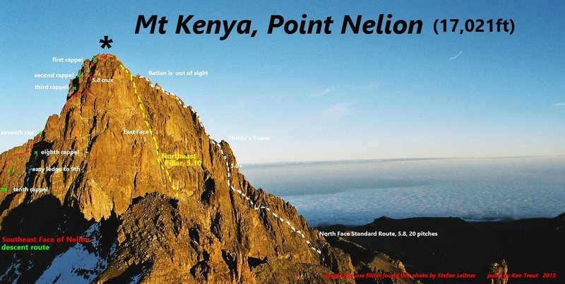 Rock Climbing Photo: Mount Kenya from Point Lenana  Southeast Face on l...