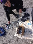 Rock Climbing Photo: Jeffrey Constine painting the new bolts and bolt h...