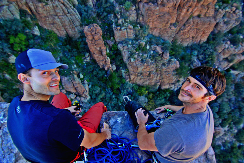 View from the top of the spire is incredible! Stephen Sperry and Nick Withem.