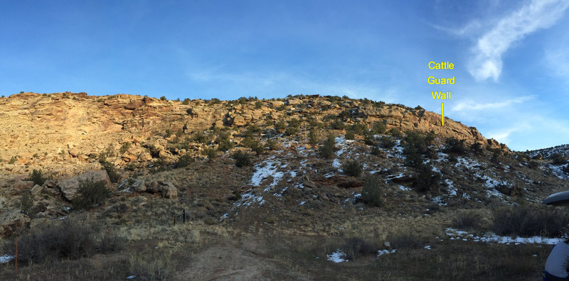 Rock Climbing Photo: Looking up at the Cattle Guard Wall from the parki...