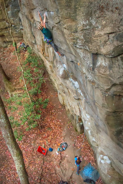 Rock Climbing Photo: John clipping on Lost Souls