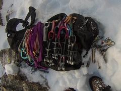Rock Climbing Photo: My rack for the route. I used it all. Recommend at...